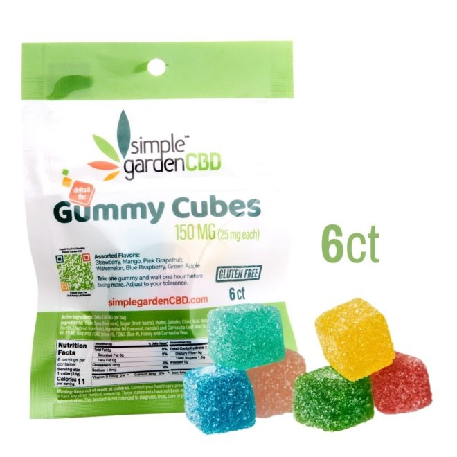 Front packaging and close up view of Delta 8 THC gummies sold online and in store by Simple Garden CBD.